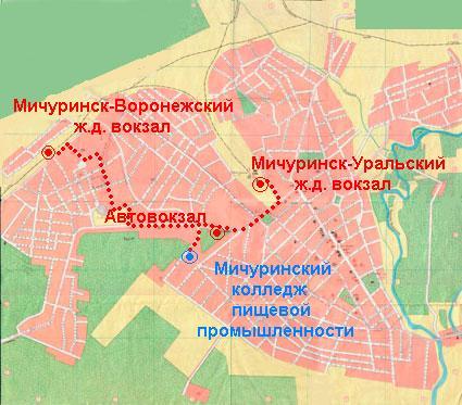 Карта схема г мичуринска
